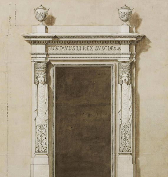 Columns Drawing - Design For Wall Decorations For The Salon De Compagnie by Jean-Desmosthene Dugourc