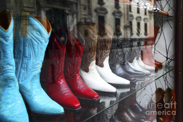 Photograph - Designer Leather Boots For Sale by James Brunker
