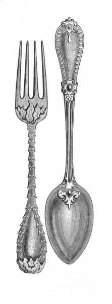 1851 Photograph - Dessert Fork & Spoon, 1851 by Granger
