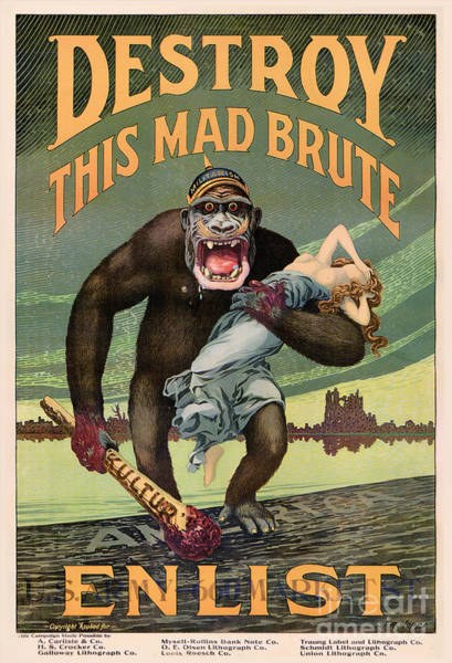 Wall Art - Digital Art - Destroy This Mad Brute - Restored Vintage Poster by Vintage Treasure