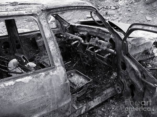 Flammable Wall Art - Photograph - Destroyed Burned Car by Yali Shi
