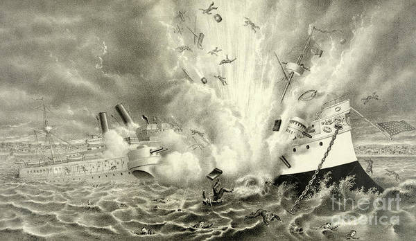 Explosion Drawing - Destruction Of The Us Battleship Maine, 15th February, 1898 by American School