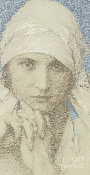 Attractive Drawing - Detail From Portrait Of Jaroslava  Jarca, Daughter Of The Artist, 1929 by Alphonse Marie Mucha
