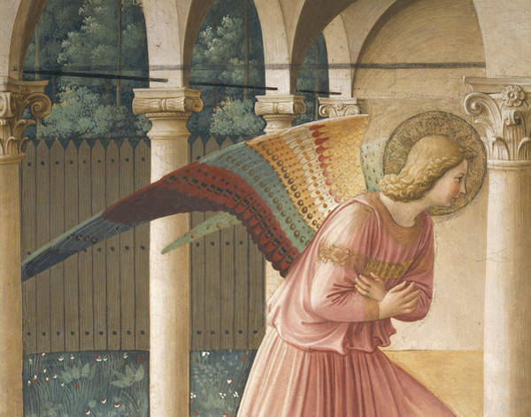 Wall Art - Painting - Detail From The Annunciation Showing Archangel Gabriel by Fra Angelico