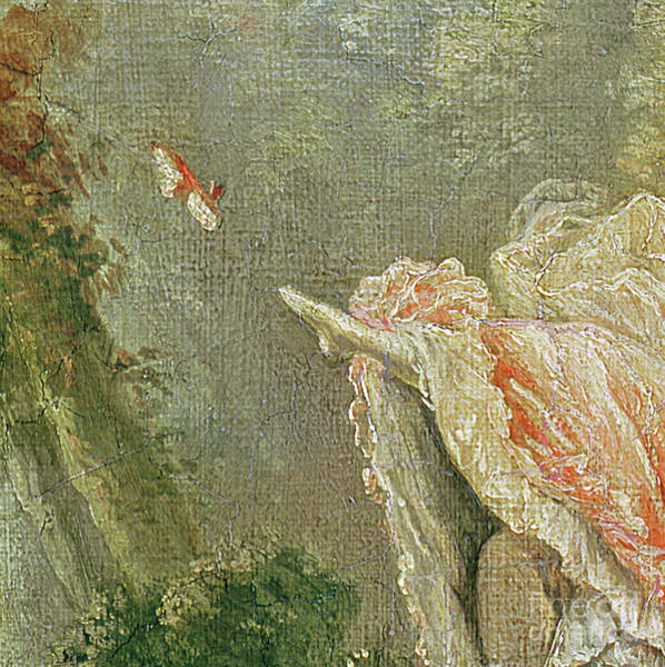 Flirtatious Painting - Detail From The Swing by Jean-Honore Fragonard