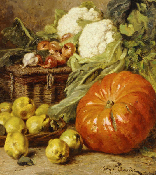 Veg Painting - Detail Of A Still Life With A Basket, Pears, Onions, Cauliflowers, Cabbages, Garlic And A Pumpkin by Eugene Claude