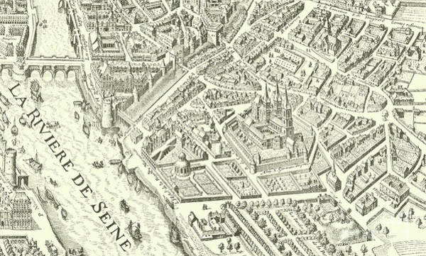 Close Up Drawing - Detail Of A Vintage Map Of Paris by French School