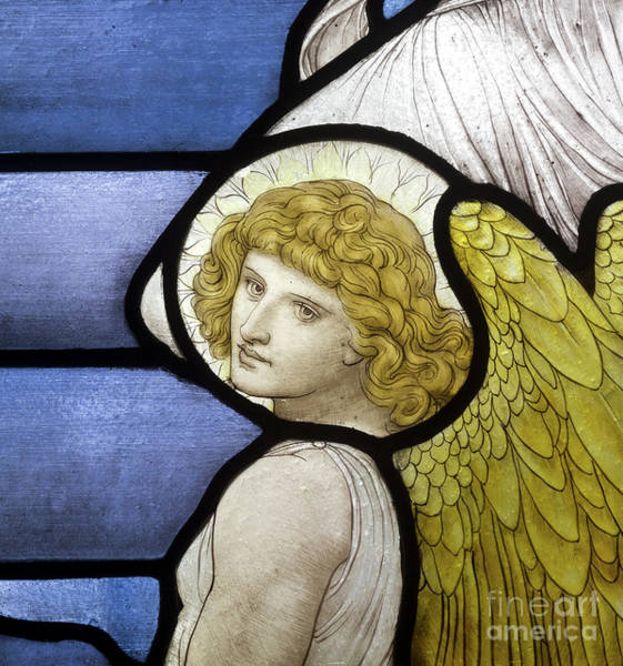 Wall Art - Glass Art - Detail Of An Angel by Henry Holiday