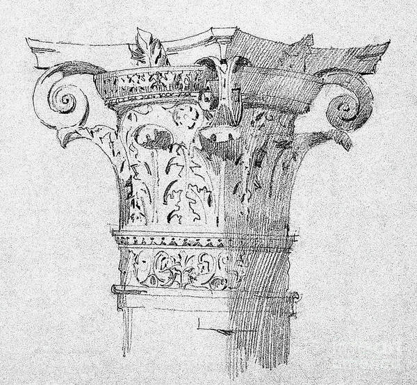 Columns Drawing - Detail Of Capitals From Bologna, 1891 by Charles Rennie Mackintosh