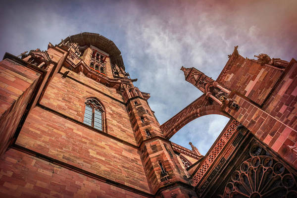 Brick Gothic Photograph - Detail Of Freiburg Cathedral Germany  by Carol Japp