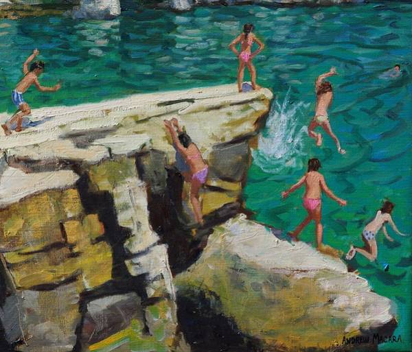 Wall Art - Painting - Detail Of Jumping Into The Sea by Andrew Macara