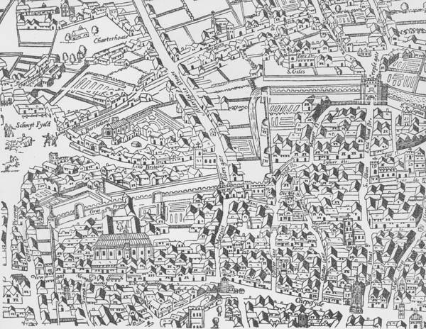 Close Up Drawing - Detail Of London Wall East Of Smithfield From Civitas Londinium by Ralph Agas