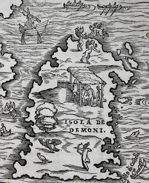 Territory Painting - Detail Of Map New France by Giovanni Battista Ramusio