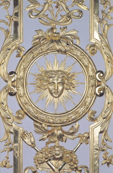 Le Photograph - Detail Of Panelling Depicting The Emblem Of Louis Xiv From Versailles by Charles Le Brun