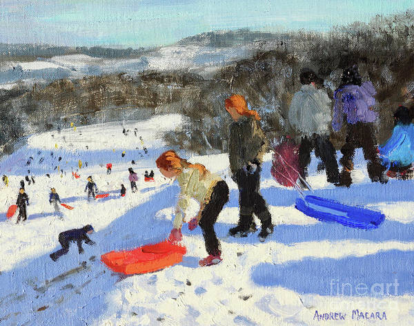 Wall Art - Painting - Detail Of The Red Sledge, Allestree Park, Derby by Andrew Macara