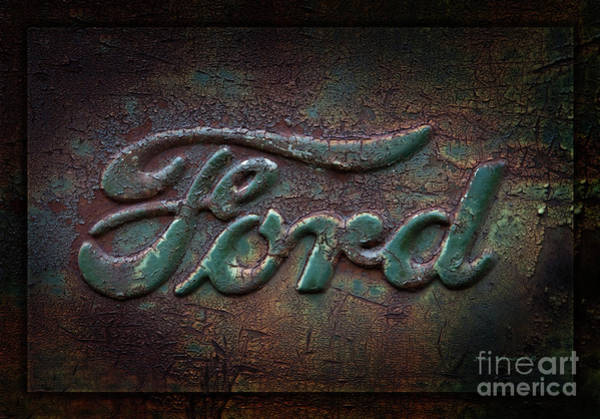 Scratch Photograph - Detail Old Rusty Ford Pickup Truck Emblem by John Stephens