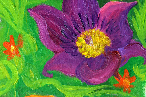 Painting - detail purple flower from Birth by Anne Cameron Cutri