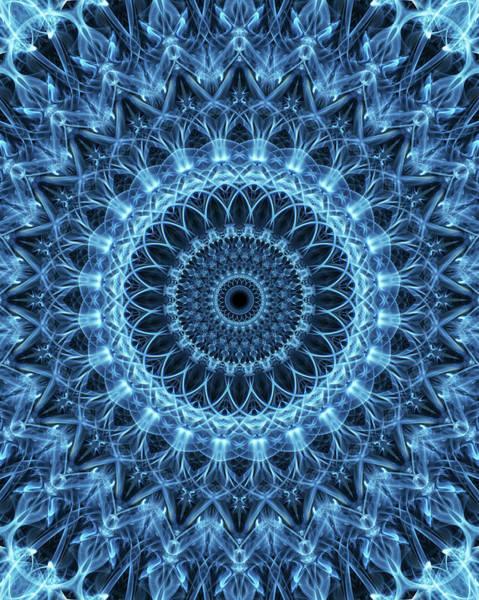 Photograph - Detailed Mandala In Light Blue Tones by Jaroslaw Blaminsky