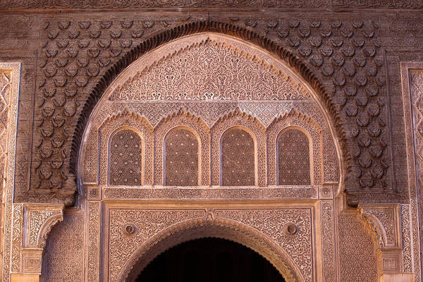 Photograph - Details From Patio Wall In Ben Youssef Madrasa by Aivar Mikko