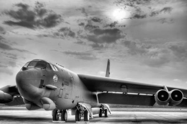 Nuclear Bomber Wall Art - Photograph - Deterrence Black And White by JC Findley
