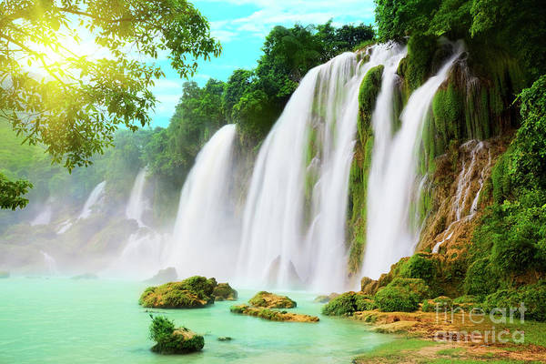 Tropical Photograph - Detian Waterfall by MotHaiBaPhoto Prints