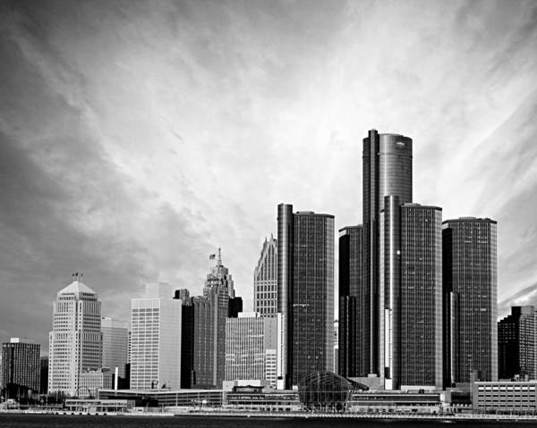 Michigan Photograph - Detroit Black And White Skyline by Alanna Pfeffer