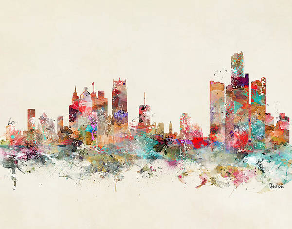Michigan Painting - Detroit City Skyline by Bri Buckley