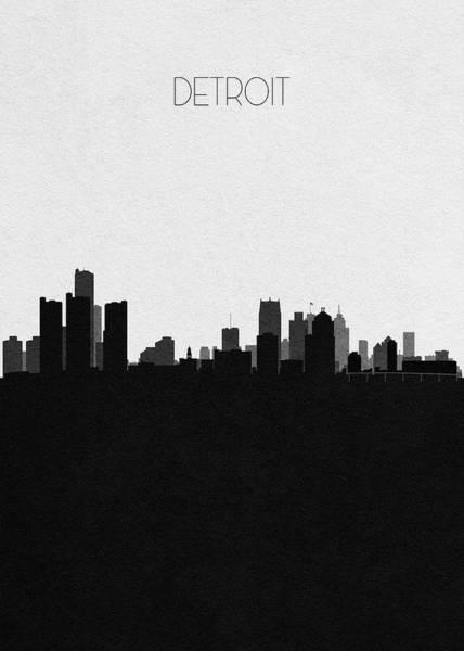 Souvenir Digital Art - Detroit Cityscape Art by Inspirowl Design