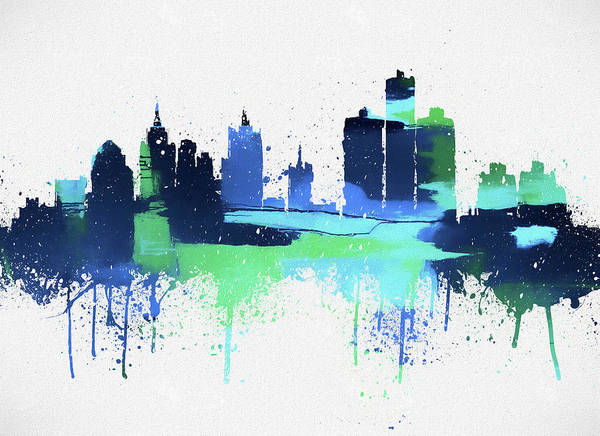 Wall Art - Painting - Detroit Colorful Skyline by Dan Sproul