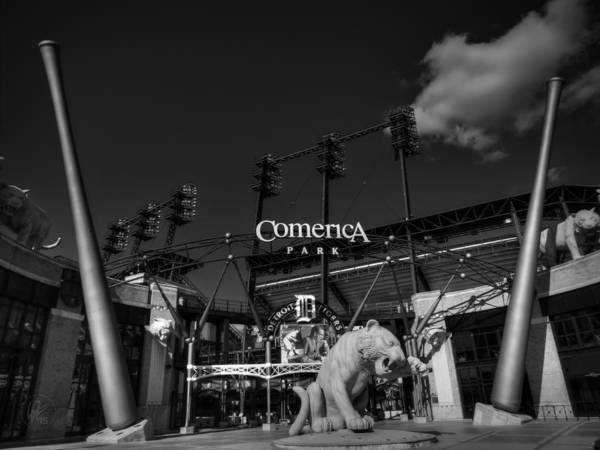 Photograph - Detroit - Comerica Park 001 Bw by Lance Vaughn