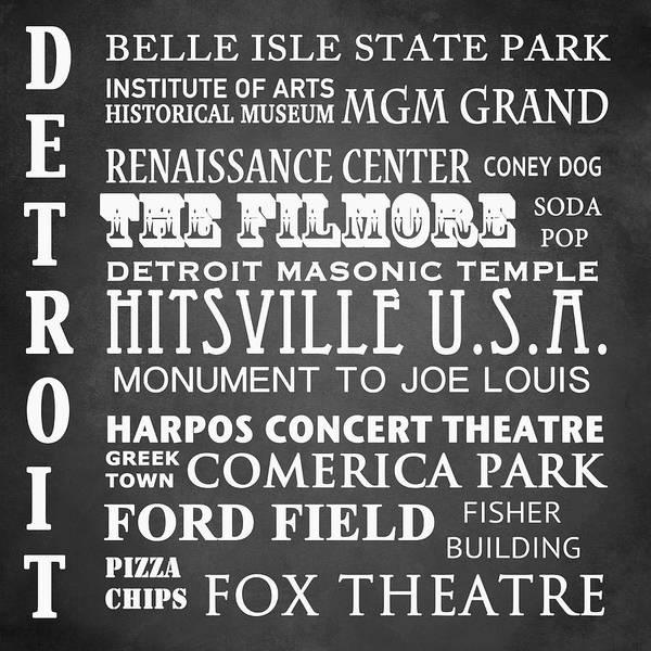 Wall Art - Digital Art - Detroit Famous Landmarks by Patricia Lintner