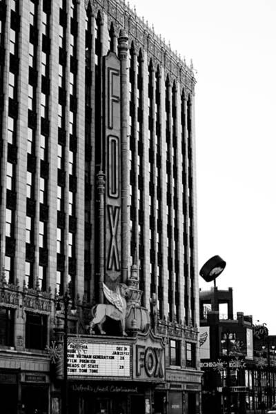 Woodward Photograph - Detroit Fox Theatre Black And White by Alanna Pfeffer