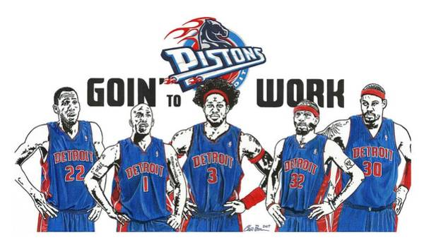 Nba Drawing - Detroit Goin' To Work Pistons by Chris Brown