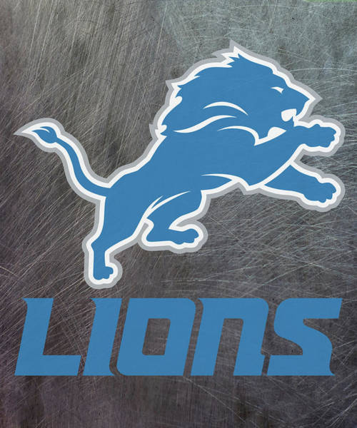 Mixed Media - Detroit Lions On An Abraded Steel Texture by Movie Poster Prints