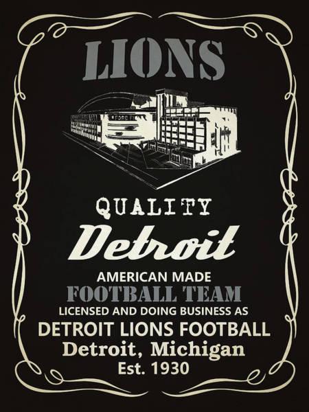 Lion Mixed Media - Detroit Lions Whiskey by Joe Hamilton