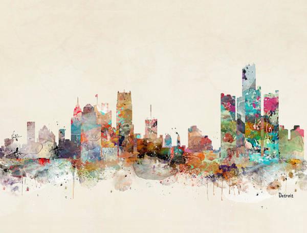 Detroit Wall Art - Painting - Detroit Michigan  by Bri Buckley