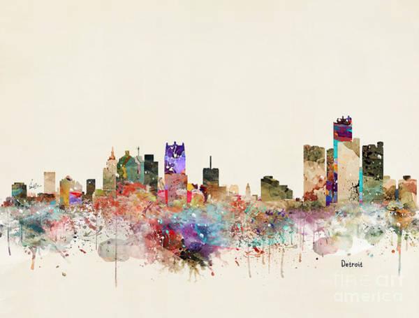 Detroit Wall Art - Painting - Detroit Michigan City Skyline by Bri Buckley