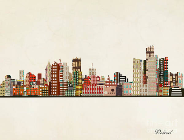 Detroit Wall Art - Painting - Detroit Michigan Skyline by Bri Buckley