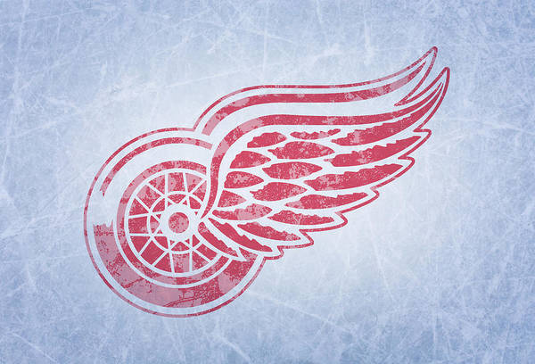 Wall Art - Mixed Media - Detroit Red Wings Vintage Hockey At Center Ice by Design Turnpike