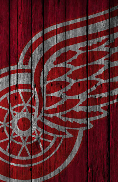 Wall Art - Painting - Detroit Red Wings Wood Fence by Joe Hamilton