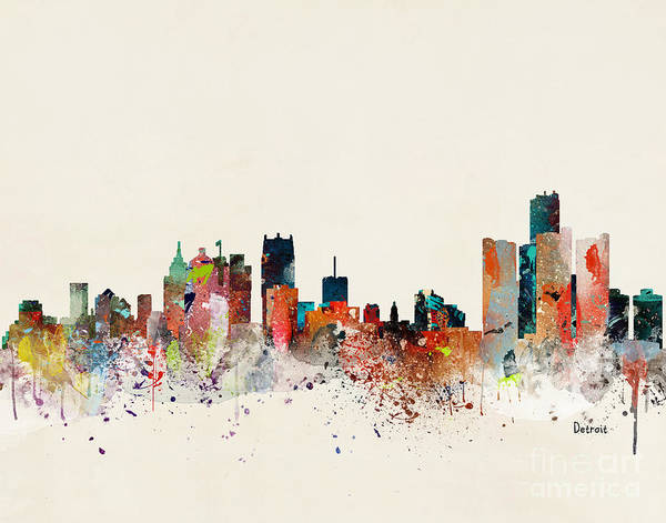 Detroit Wall Art - Painting - Detroit Skyline by Bri Buckley