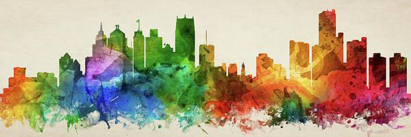 Wall Art - Digital Art - Detroit Skyline Panorama Usmide-pa03 by Aged Pixel