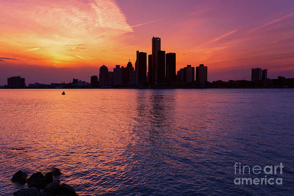 Photograph - Detroit Skyline Sunset 3 by Rachel Cohen
