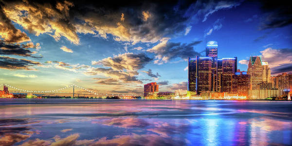 Painting - Detroit Skyline Sunset by Christopher Arndt