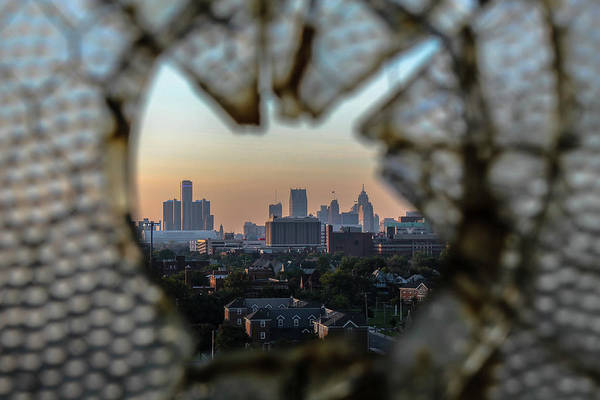 Fisher Center Photograph - Detroit Through The Broken Glass Of Fisher Body 21... by Jay Smith