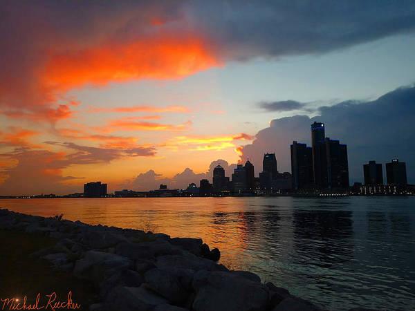 Michigan Wall Art - Photograph - Detroit Sunset by Michael Rucker