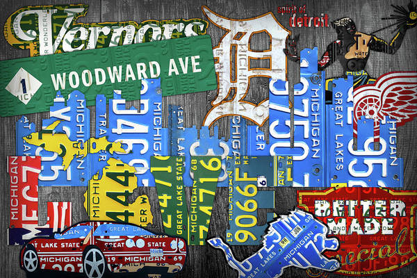 Wall Art - Mixed Media - Detroit The Motor City Michigan License Plate Art Collage by Design Turnpike
