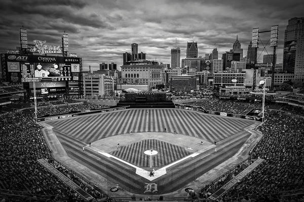 Midwest Photograph - Detroit Tigers Comerica Park Bw 4837 by David Haskett II