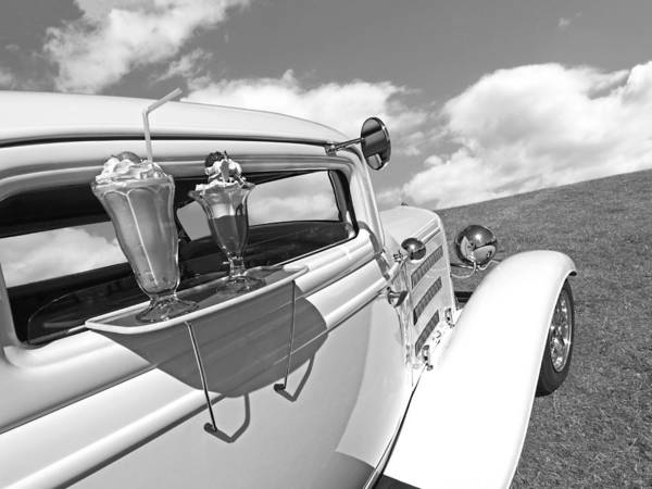 Photograph - Deuce Coupe At The Drive-in Black And White by Gill Billington
