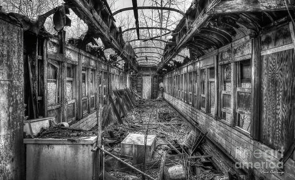 Photograph - Devastation B W The Train Car Fire Art by Reid Callaway